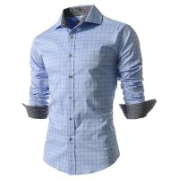 پیراهن آستین بلند چهارخانه مردانه